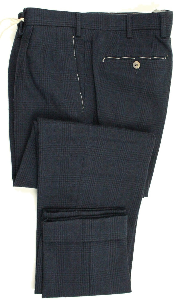 Vigano – Dark Blue Wool/Cotton Tweed-Style Pants w/POW Pattern, Pleated - PEURIST
