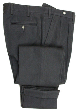 Vigano – Navy Wool/Cotton Knit Pants w/Extended Waistband - PEURIST
