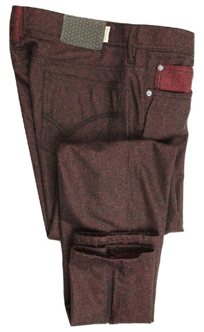 Vigano – Burgundy Five-Pocket Wool Blend Flannel Pants - PEURIST