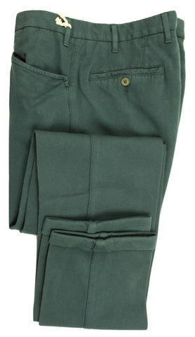 Vigano – Dark Green Garment-Dyed Cotton/Cashmere Pants - PEURIST