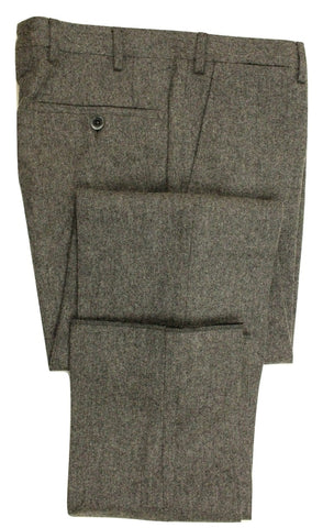 Vigano – Gray Wool Twill Flannel Pants - PEURIST