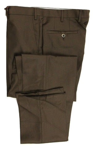 Vigano – Brown Four-Season Wool Twill Pants - PEURIST