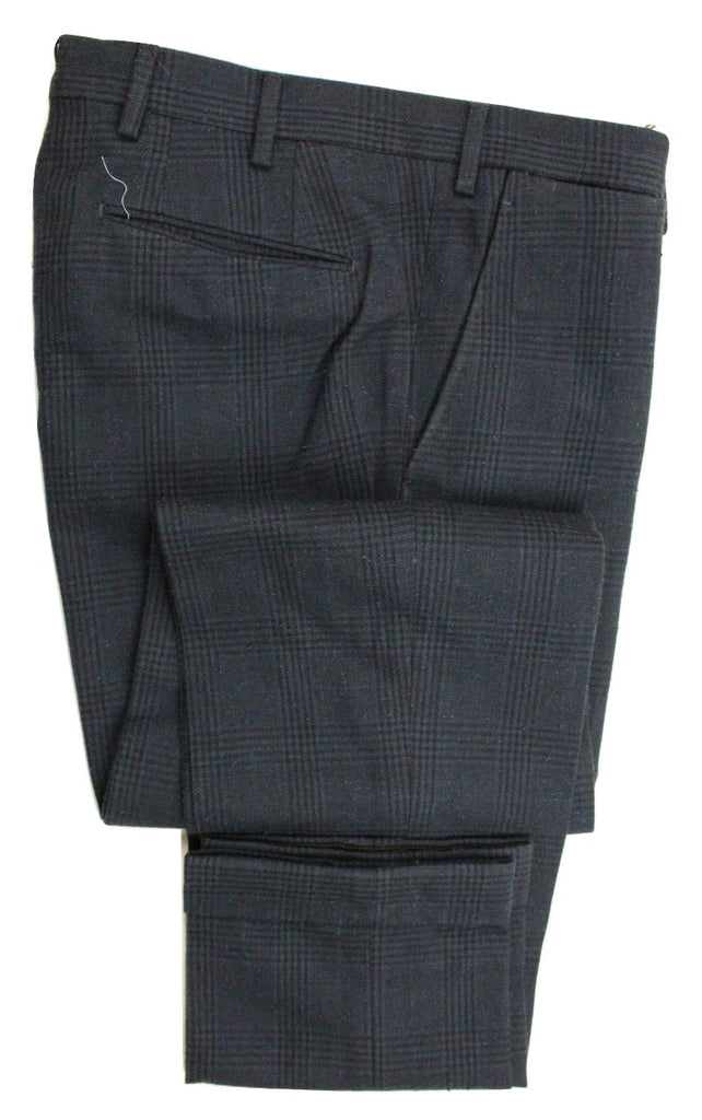 Vigano – Dark Blue Wool/Cotton Tweed-Style Pants w/POW Pattern - PEURIST