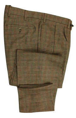 Vigano – Green-Brown Wool Blend Flannel Pants w/POW Check - PEURIST