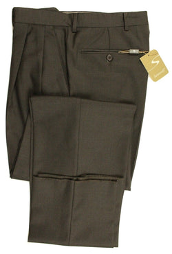 Santorelli – Dark Brown Four-Season Wool Pants - PEURIST