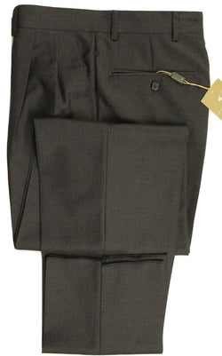 Santorelli – Charcoal Gray Four-Season Wool Pants - PEURIST