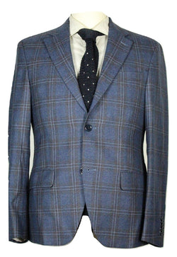 Ike Behar – Blue Plaid Wool Flannel Blazer - PEURIST