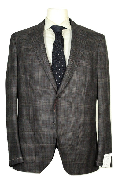 Luciano Barbera – Gray Plaid Flannel Wool/Silk Blazer - PEURIST