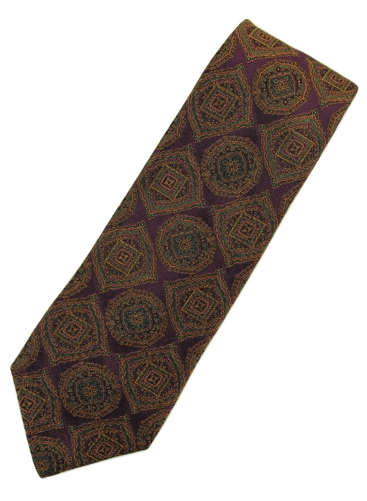 Paul Stuart – Purple Silk Tie w/Orange & Green Madder Print - PEURIST