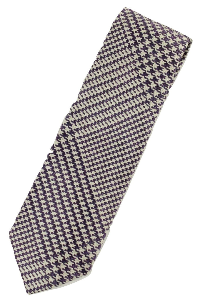 Paul Stuart – Purple & White Exploded Houndstooth Silk Tie - PEURIST