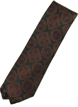 Paul Stuart – Green Silk Tie w/Purple & Orange Madder Print - PEURIST