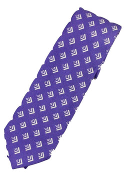Paul Stuart – Purple Silk Tie w/Geometric Pattern - PEURIST