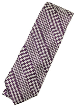 Paul Stuart – Purple & White Houndsooth Bias Stripe Tie - PEURIST