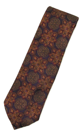 Paul Stuart – Navy Silk Tie w/Red & Dark Orange Madder Print - PEURIST