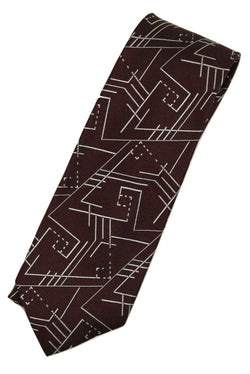 Paul Stuart – Brown Silk Tie w/Silver Art Deco Pattern - PEURIST