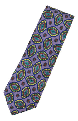 Paul Stuart – Light Purple Silk Tie w/Blue & Yellow Madder Print - PEURIST
