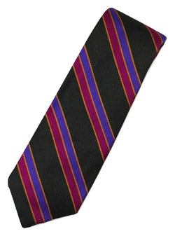 Paul Stuart – Black Silk Tie w/Purple & Fuchsia Bias Stripe - PEURIST