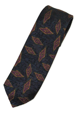 Paul Stuart – Dark Teal Silk Tie w/Purple & Orange Madder Print - PEURIST