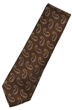 Paul Stuart – Brown Silk Tie w/Purple & Gold Madder Pattern - PEURIST