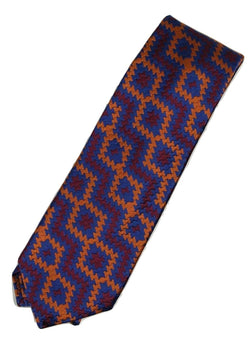 Paul Stuart – Blue, Red & Orange Basketweave Silk Tie - PEURIST