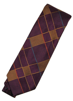 Paul Stuart – Purple Silk Tie w/Gold Art Deco Pattern - PEURIST