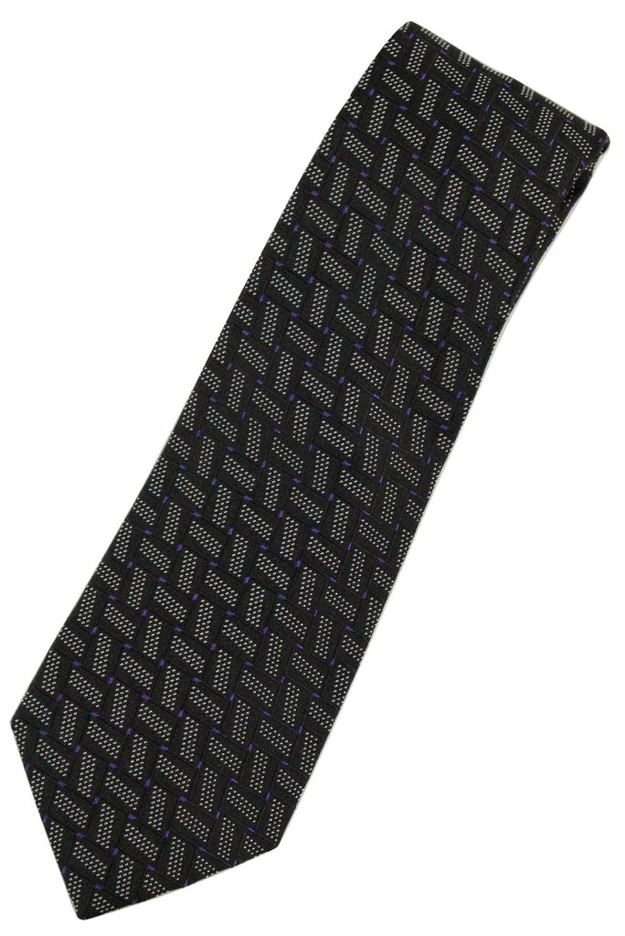 Paul Stuart by Drakes – Black Silk Tie w/Purple & Silver Geometric Pattern - PEURIST