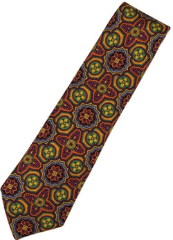 Paul Stuart – Orange & Fuchsia Madder Print Tie - PEURIST