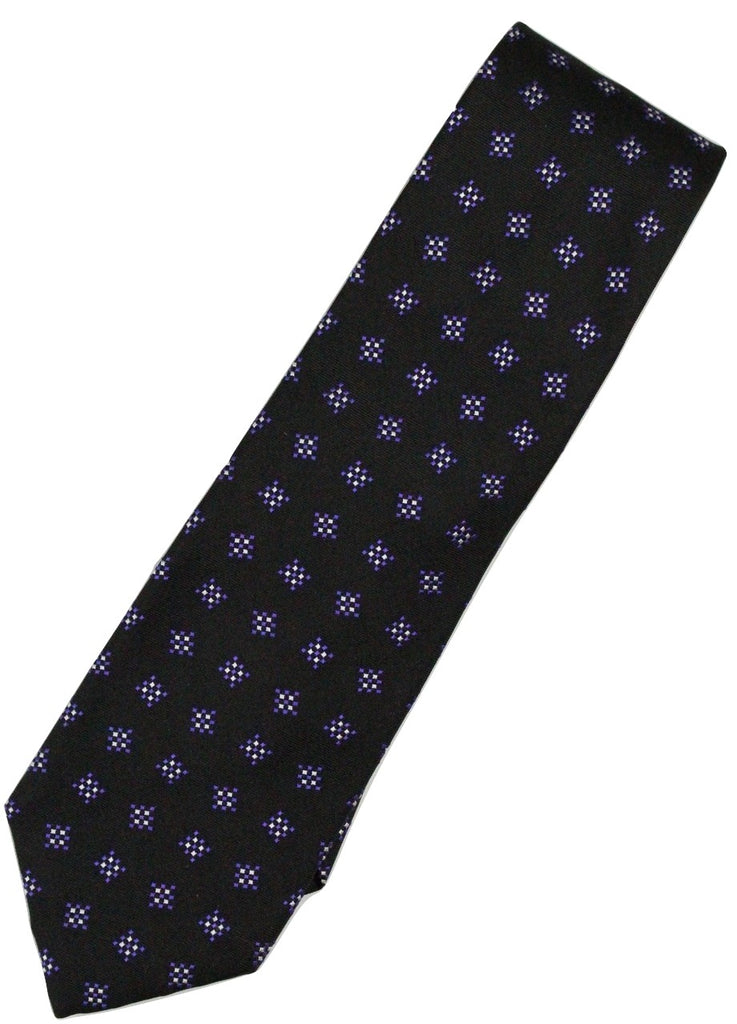 Paul Stuart – Black Silk Tie w/Purple & Silver Square Pattern - PEURIST