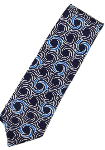 Paul Stuart – Navy Silk Tie w/White & Blue Swirl Pattern - PEURIST