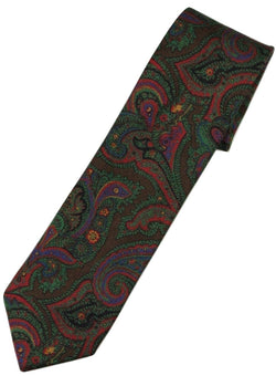 Paul Stuart – Brown Silk Tie w/Red & Blue Large Paisley Print - PEURIST
