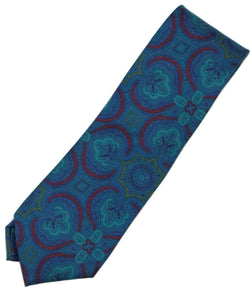 Paul Stuart – Blue Silk Tie w/Dark Blue & Red Madder Print - PEURIST
