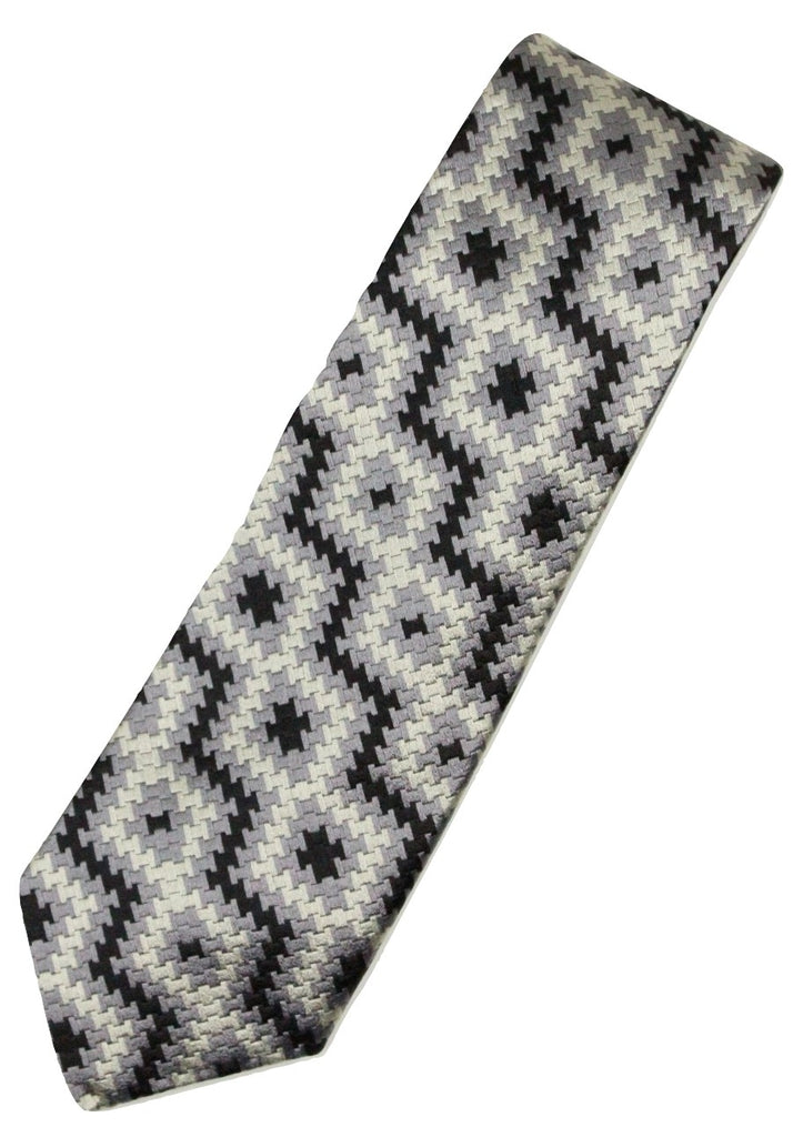Paul Stuart – Black, Silver & Gray Basketweave Silk Tie - PEURIST