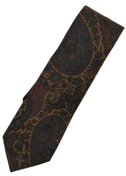 Paul Stuart – Burnt Sienna Silk Tie w/Navy & Red Madder Print - PEURIST