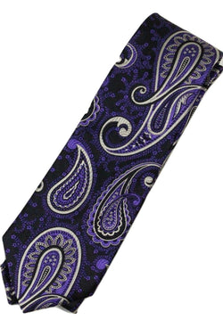 Paul Stuart – Black Silk Tie w/Purple & Silver Paisley Pattern - PEURIST