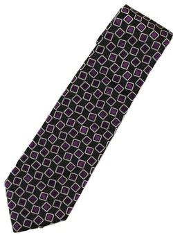 Paul Stuart – Black Silk Tie w/Silver & Purple Square Pattern - PEURIST