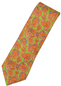 Paul Stuart – Green Silk Tie w/Orange Madder Print - PEURIST