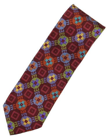 Paul Stuart – Burgundy Silk Tie w/Red, Green & Blue Madder Print (Imperfect - FS) - PEURIST