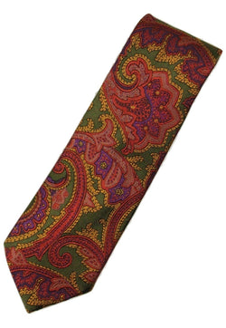 Paul Stuart – Green Silk Tie w/Red Paisley Pattern - PEURIST