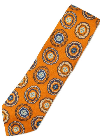 Paul Stuart – Orange Linen Tie w/Blue Madder Pattern - PEURIST