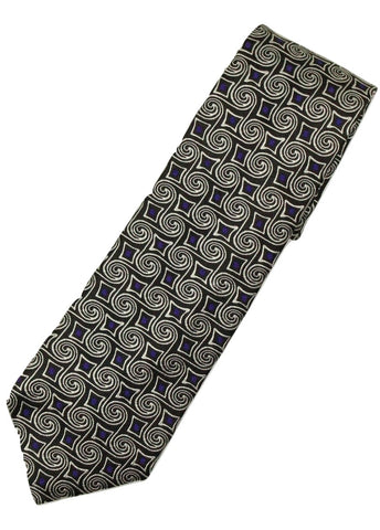Paul Stuart – Black Silk Tie w/Silver & Purple Swirl Pattern - PEURIST