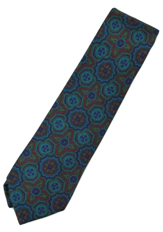 Paul Stuart – Blue Silk Tie w/Navy, Green & Red Madder Print - PEURIST
