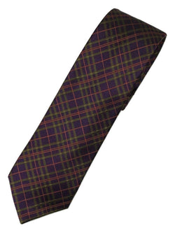 Paul Stuart – Purple Silk Tie w/Green & Orange Plaid Pattern - PEURIST