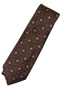 Paul Stuart – Navy Silk Tie w/Orange & Blue Madder Pattern - PEURIST