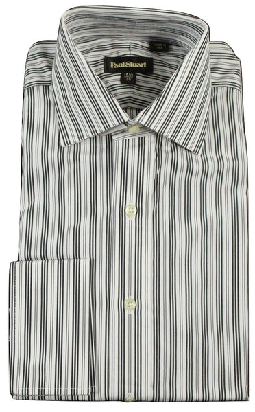 Paul Stuart - Spread Collar Charcoal & Gray Striped Shirt, French Cuffs