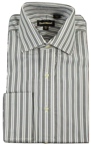 Paul Stuart - Spread Collar Charcoal & Gray Striped Shirt, French Cuffs - PEURIST