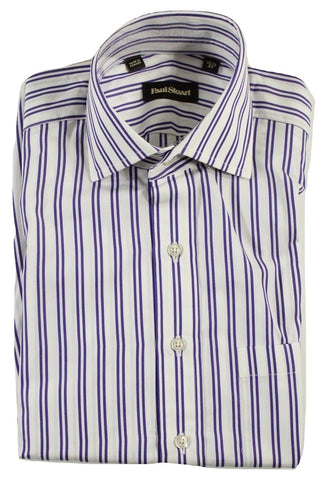 Paul Stuart - White Shirt w/Purple Stripes - PEURIST