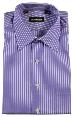 Paul Stuart - Purple Shirt w/White Stripes - PEURIST