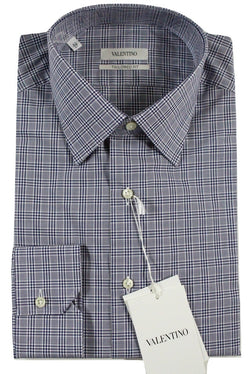Valentino – Navy & White Plaid Shirt w/Semi-Spread Collar - PEURIST