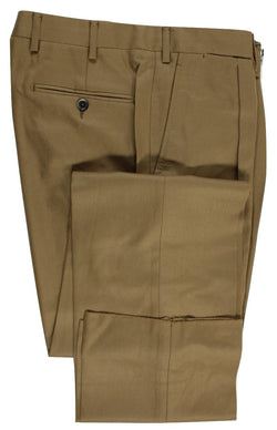 Caleffi Roma – Khaki Brown Wool/Cashmere Pants, Single Pleat - PEURIST