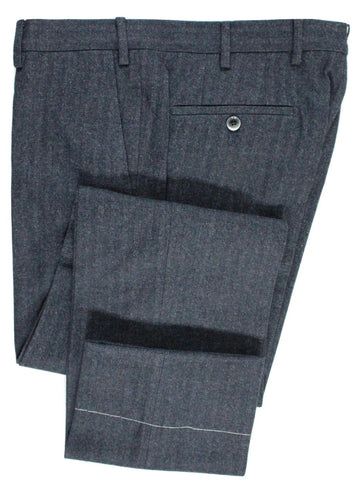 Tavola by Vigano – Navy & Gray Herringbone Wool/Cotton Flannel Pants - PEURIST